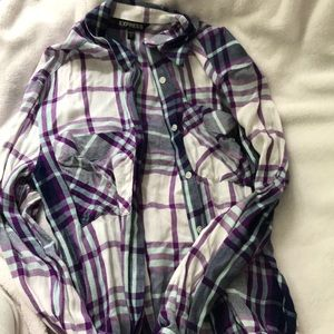 Express Purple and Teal button up, XS